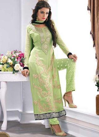 Angelic See Green Karachi Work Georgette Embroidered Party Wear Patiyala Suit