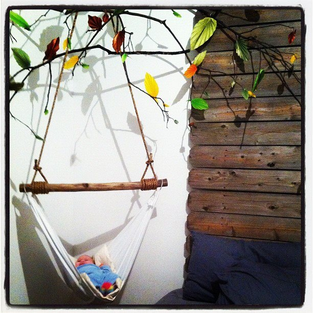 Our DIY baby hammock & origami repurposed mobile