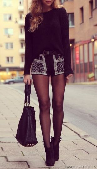 Oversized Black Knit Sweater + Print Shorts + Belt + Sheer Black Pantyhose + Black Ankle Boots + Black Studded Bag