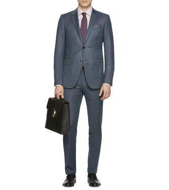 ERMENEGILDO ZEGNA: Blue Gray Wool Torino Suit $3,095.00