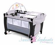Portacot Nursery Furniture 7-in-1 Cot Bassinet Playpen Black and Grey