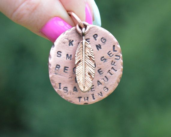 engraved pendant round 'keep smiling...' pendant by CopperFinger