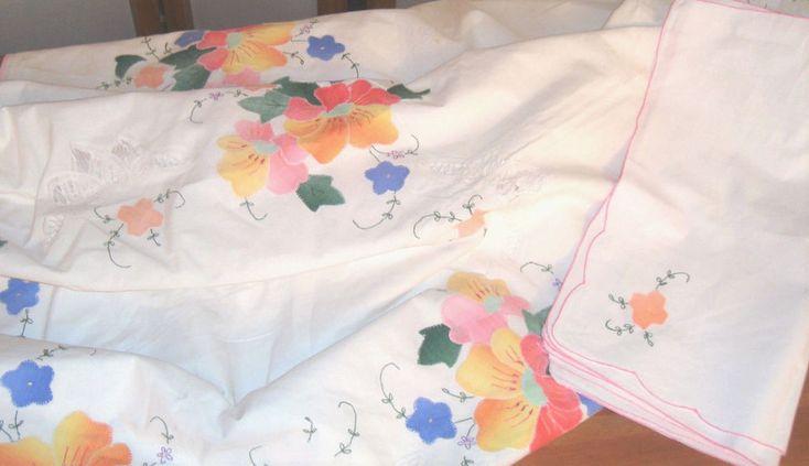 Battenburg Lace Painted Floral Applique Large Dining Tablecloth W/ 4 Napkins Set #Unbranded