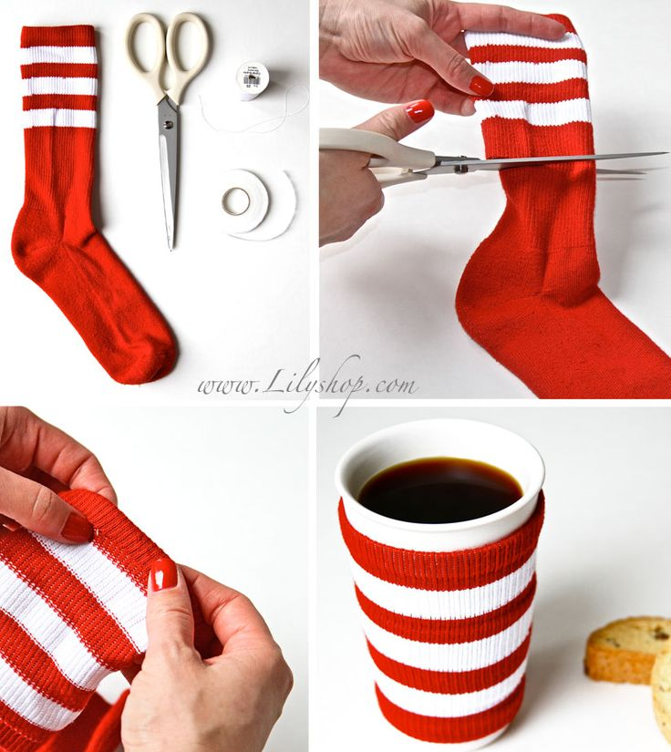 "Old Sock Coffee Cup Cozy!    Should just be called ""sock cozy"" cuz nobody is going to cut up a brand new one (unless purchased for this reason) and most normal folks socks do not look this great ""used""....especially to hug something your going to be drinking...lol very cute idea!!!! For those dollar store sock deals ;)"