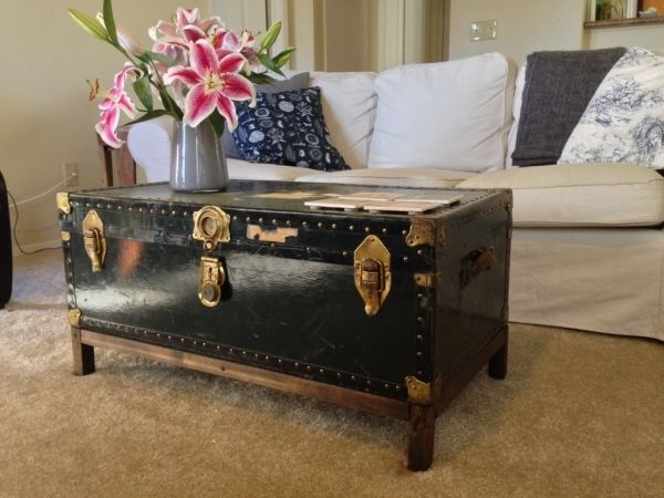 DIY Coffee Table From Antique Steamer Trunk   Finishing Touches