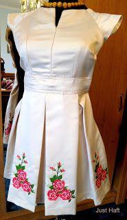 Just Haft: Sukienki z haftem. Haft maszynowy krzyżykowy - róże. Embroidered dress, machine cross stitched roses