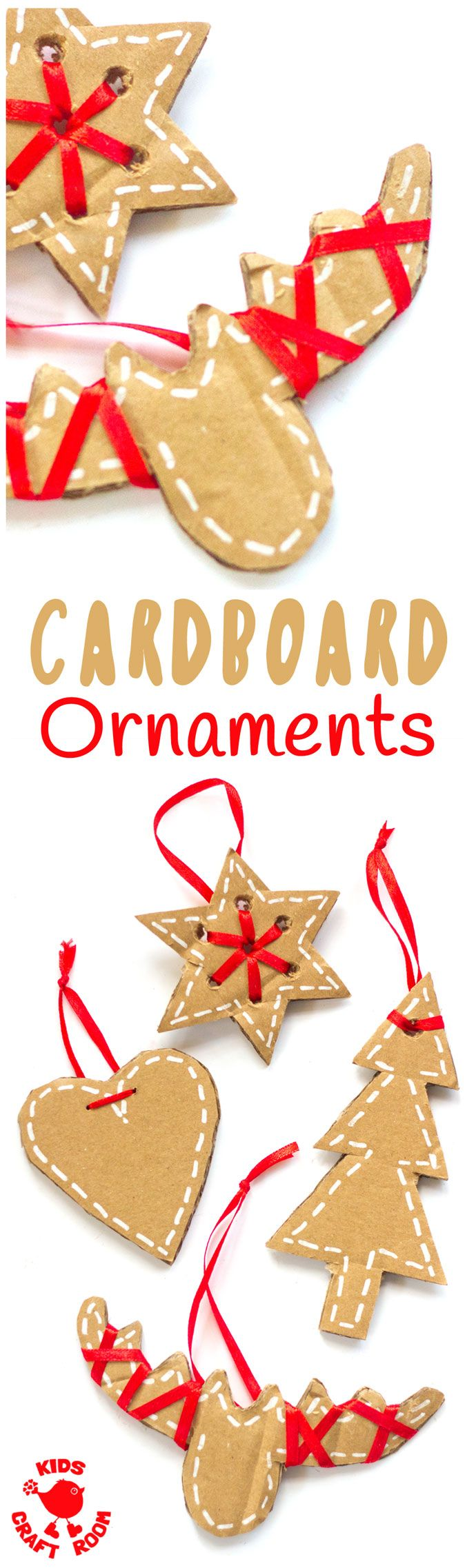 PRETTY CARDBOARD ORNAMENTS - These rustic DIY cardboard ornaments are a fantastic recycled crafts that will make your Christmas tree and home gorgeous this Winter. A simple Christmas craft for kids and adults. #christmas #christmascrafts #kidscrafts #recy