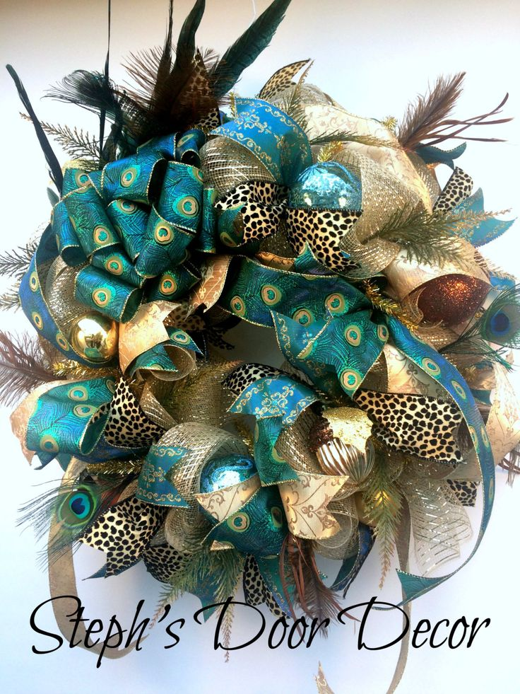 Extra Large Peacock Christmas Wreath Teal Bronze Gold - Deluxe Feather and Floral Holiday Wreath - Peacock Decorations - Elegant Wreath by StephsDoorDecor on Etsy