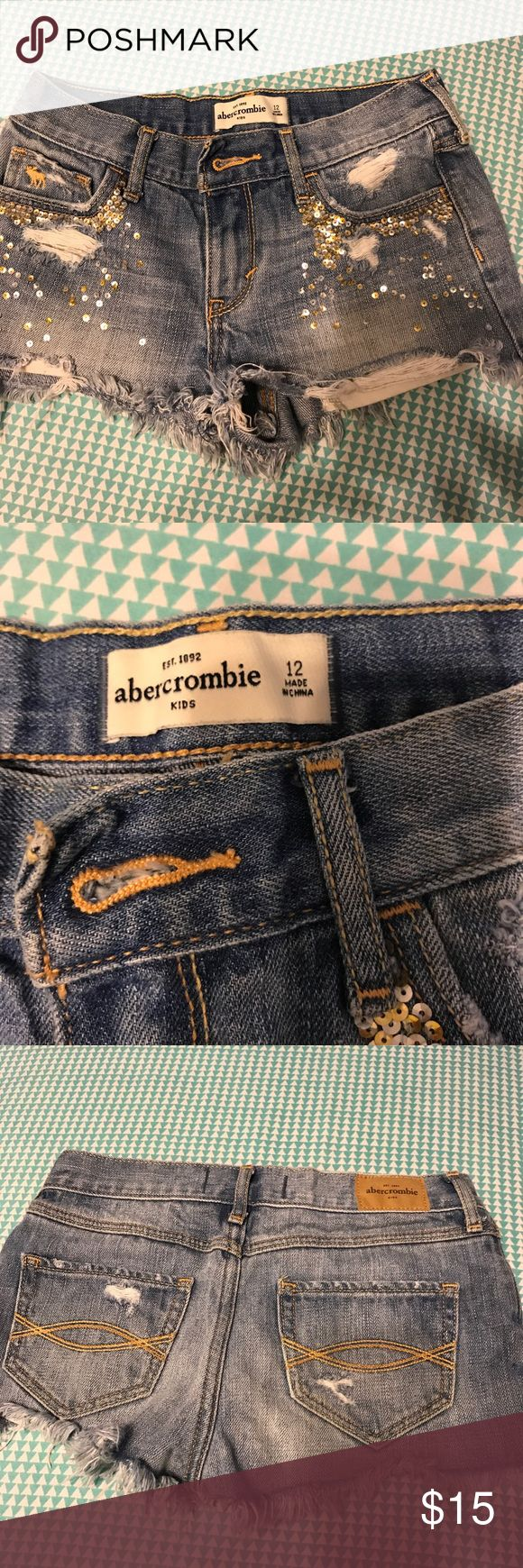 Abercrombie girls kids size 12 bling shorts Girls shorts like new abercrombie kids Shorts Jean Shorts