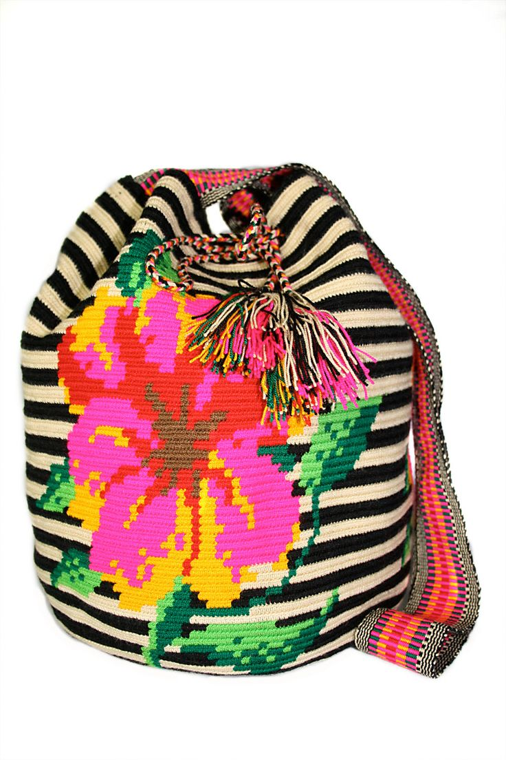 Tapestry crochet from the Wayuu tribe in Colombia.  Gorgeous color work!
