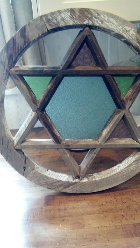 SOLD - Star of David stained glass window from a church circa 1900