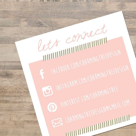 Use these pretty social media business cards to encourage your clients to connect with you via social media. Hand them out at craft/vendor
