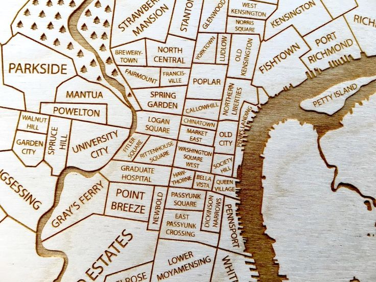 Philadelphia Map - Engraved Wood Neighborhood Map by Etched Atlas