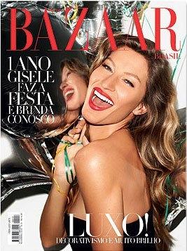 Gisele Bündchen covers for Harper's Bazaar Brazil's first anniversary.