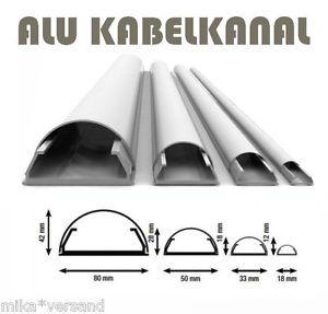 Alu-Aluminium-Kabelkanal-System-Kabelabdeckung-weiss-18-mm-110-cm