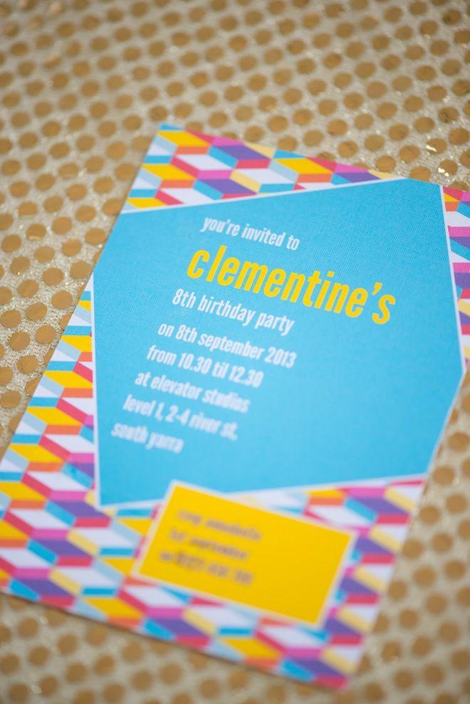 Personalised Geometric Disco Party Invitation     https://lovejk.com.au/product/Color-Pop-Invitation.htm