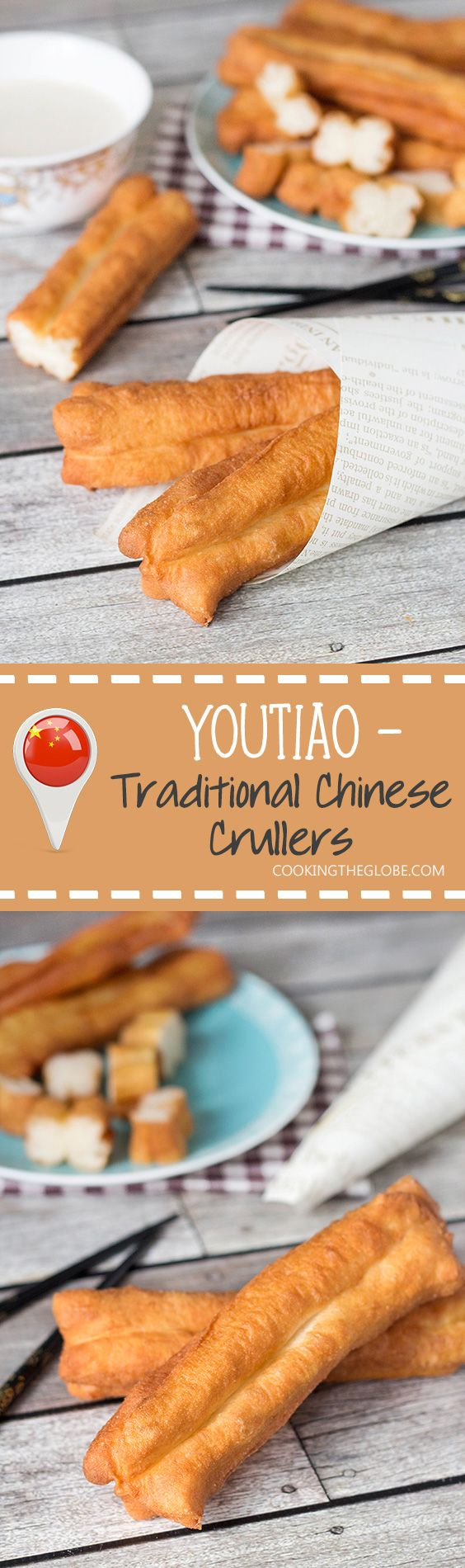 These Chinese Crullers, or Chinese donuts, called Youtiao, are a traditional breakfast staple in China. They can be enjoyed as a standalone dish or dipped in a warm soy milk! | cookingtheglobe.com