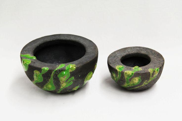 2 RAKU - Keramik - Objekte, *Algenschalen*... von zeit-geister auf DaWanda.com