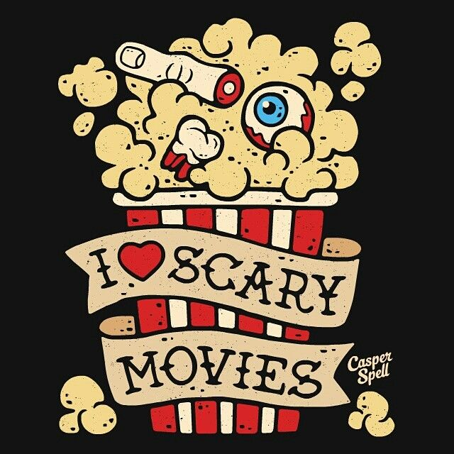 I Love Scary Movies Cute Spooky Graphic Art by Casper Spell. Horror Popcorn Halloween Illustration Macabre Dark Artist Design Gifts Apparel Home Goods Autumn Fall (www.CasperSpell.com)