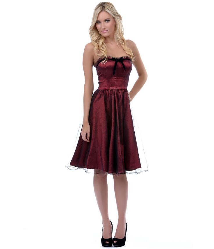 SALE! The Vicky Maroon Tulle Dress - Unique Vintage - Prom dresses, retro dresses, retro swimsuits.