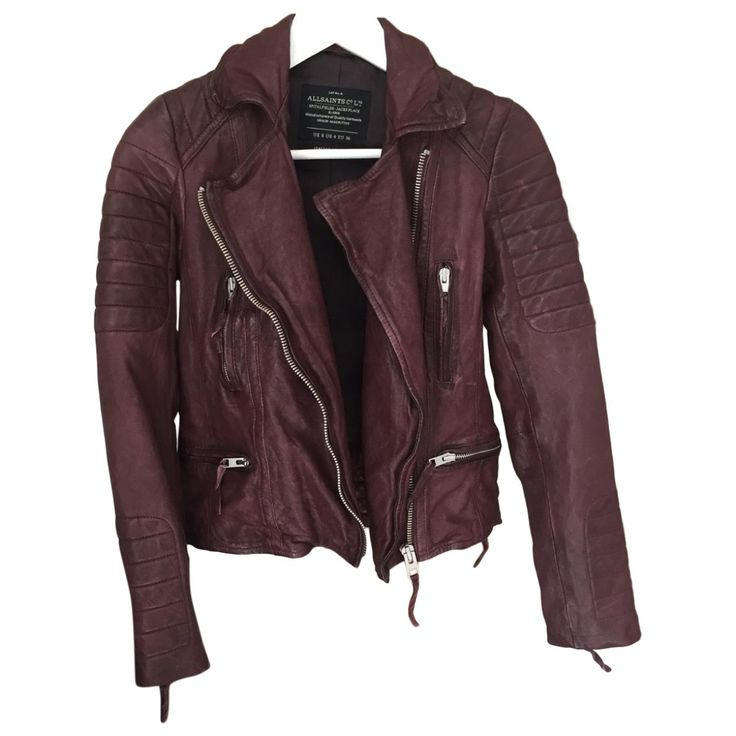 ALL SAINTS Burgundy colour distressed perfecto biker jacket