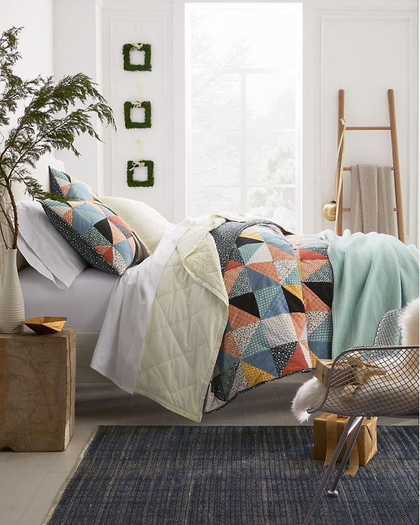 Avery Triangles Quilt   Morongell Master Bedroom   Quilts, Cotton ...