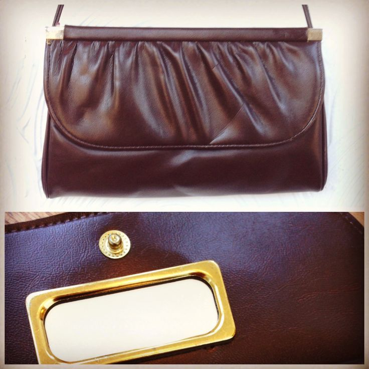 1980s Faux Leather Purse with Built-In Mirror