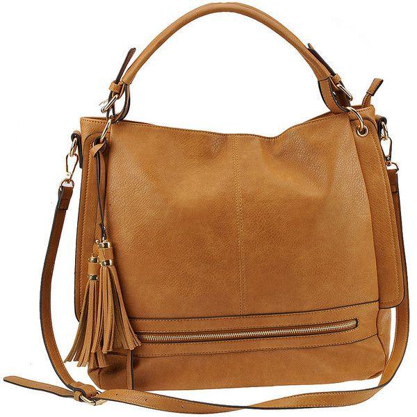 Urban Expressions Finley Hobo Bag Tan Bags (¥6,745) ❤ liked on Polyvore featuring bags, handbags, shoulder bags, accessories, purses, tan, vegan purses, hobo hand bags, brown shoulder bag and vegan handbags