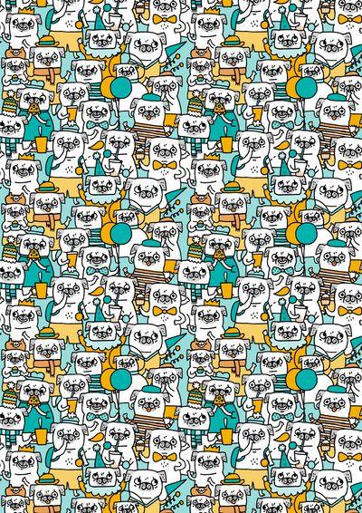 Pug pattern Art Print by Gemma Correll on Society6