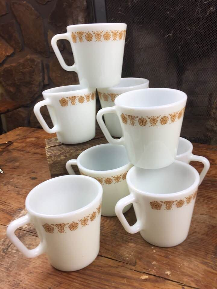6c076c05f86 Vintage set of 8 Pyrex Butterfly Gold coffee cups in EUC in 2019 ...