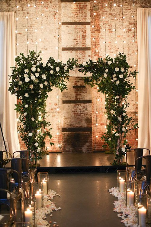 Industrial-Meets-Rustic Green Building Brooklyn Wedding, Chuppah Draped with Greenery