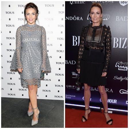 Edyta Herbuś w szarej koronkowej sukience i Małgorzata Rozenek w czarnej sukience koktajlowej.