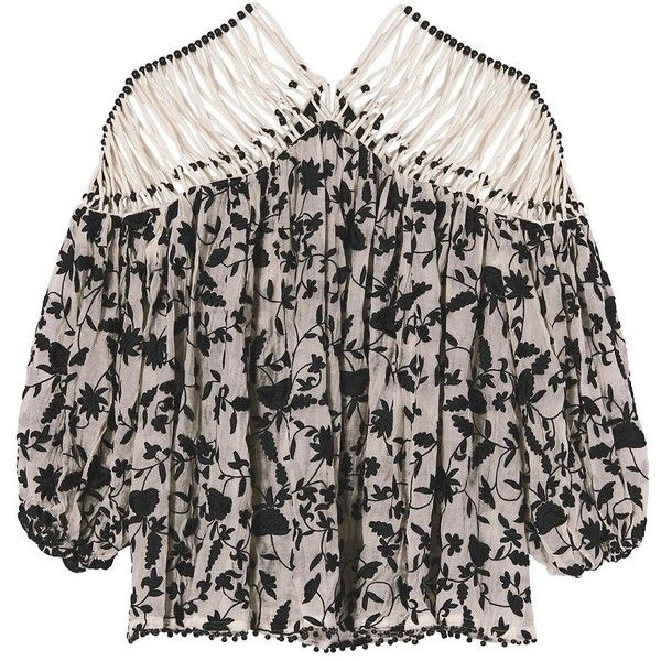 Zimmermann Strappy Embroidery Top ($995) ❤ liked on Polyvore featuring tops, spaghetti-strap top, embroidery top, zimmermann, strappy top and black white top