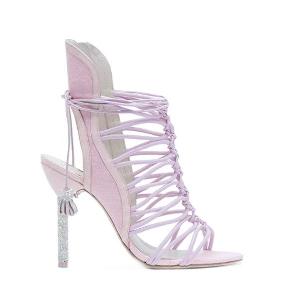 Lacey Crystal ($705) ❤ liked on Polyvore featuring shoes, sandals, heels, sophia webster, pink heeled sandals, pink heeled shoes, crystal bridal shoes, pink crystal shoes and bridal sandals