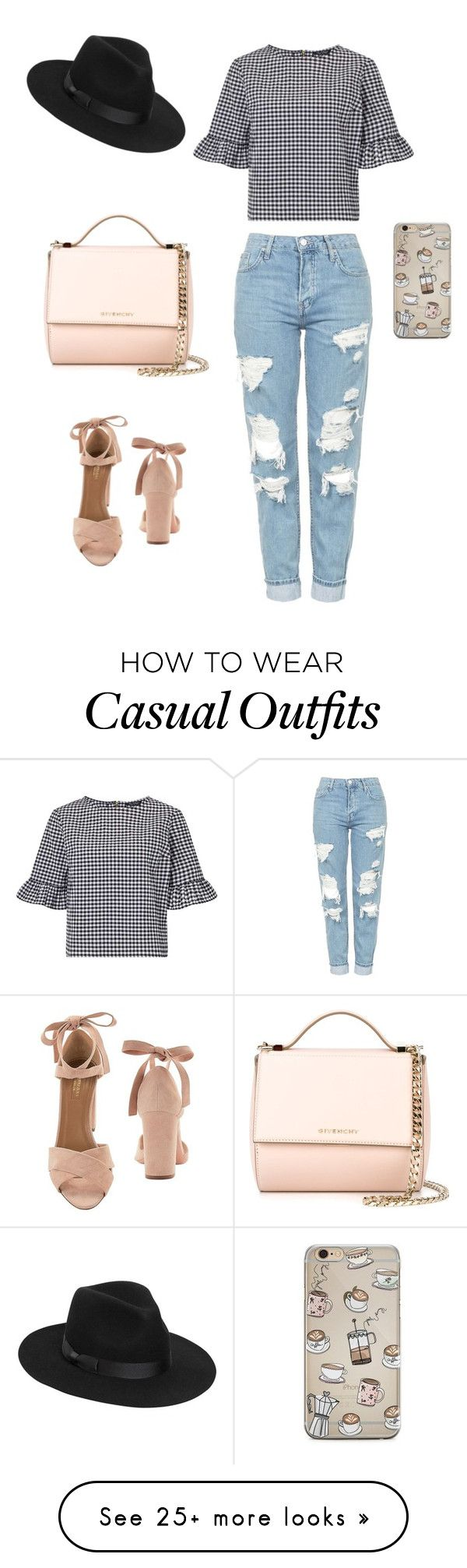 """Casual day basics, black, white and nude"" by emilielouisse on Polyvore featuring Topshop, Miss Selfridge, Lack of Color, Givenchy and Aquazzura"