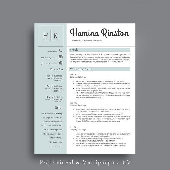 Resume Template,  Professional Resume Template. CV Template with Cover Letter and Additional References Page.  By AvataDesigns
