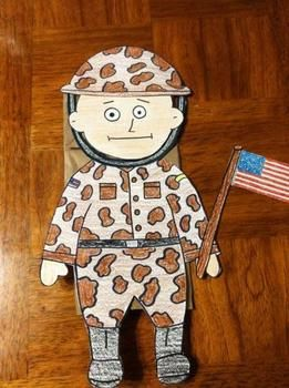 Veterans Day Soldier Puppet Have your students celebrate Veterans Day by making these great Soldier Puppets.Includes two patterns. One camouflage and one solid.