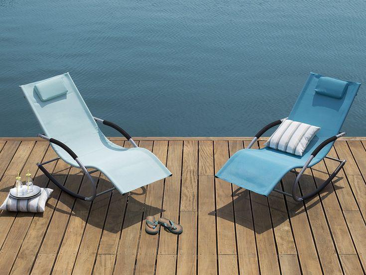 Rocking Sun Lounger Blue Carano Sun Lounger Modern Deck Modern