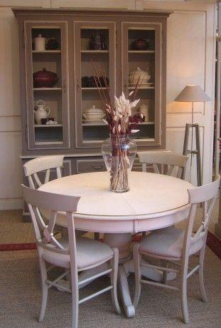 Table de salle à manger en bois massif patiné. MADE IN ...