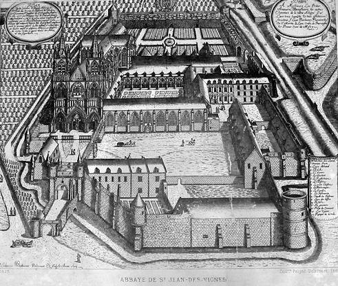 Plan de l'abbaye de Saint-Jean-des-Vignes de Soissons en 1673