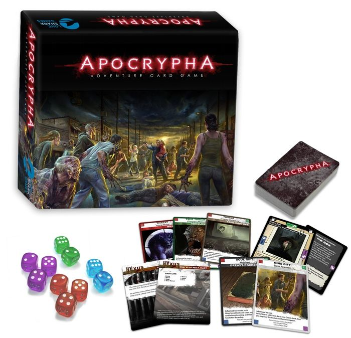 The Apocrypha Adventure Card Game. Backed on Kickstarter. A horror-themed coop card based RPG with story contributions by Patrick Rothfuss, Kris Straub, Mary Robinette Kowal, etc. Estimated delivery: Apr 2016.