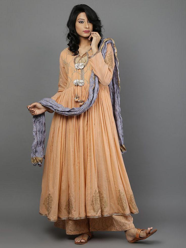 Peach - Move Block Printed Mulmul Anarkali Suit  - Set of 3