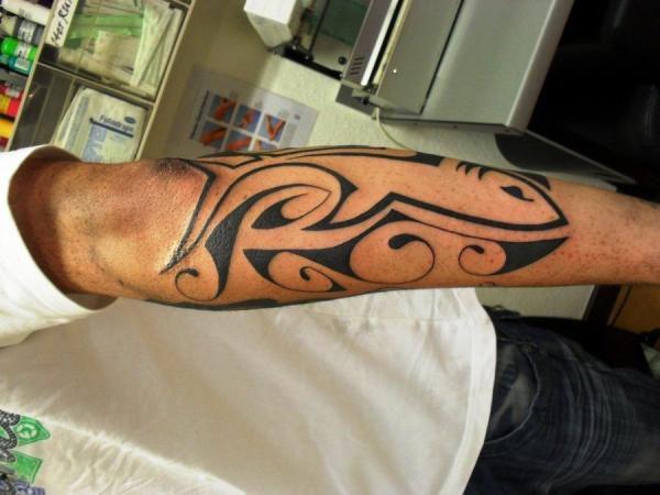 Tatouage Tribal Homme Avant Bras Requin Tatouage Homme