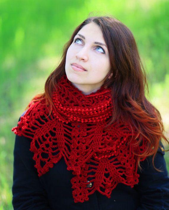 gehaakte driehoek rode sjaal sjaal met kantwerk door ThingsFromShela
