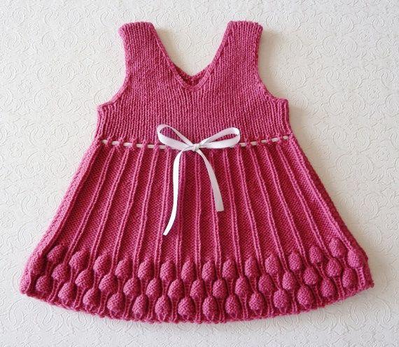 Hand Knitted Baby Dress  RASPBERRY by TatianaKnit on Etsy, $35.00