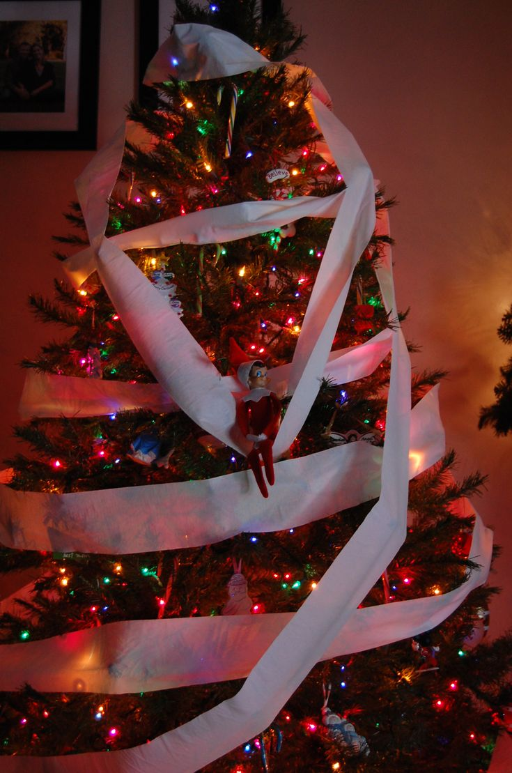 Elf on the Shelf - TP-ing the tree. This looks like so much fun!