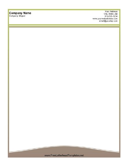 A printable letterhead design with a thin olive green lined border and tan wave at the bottom. Free to download and print