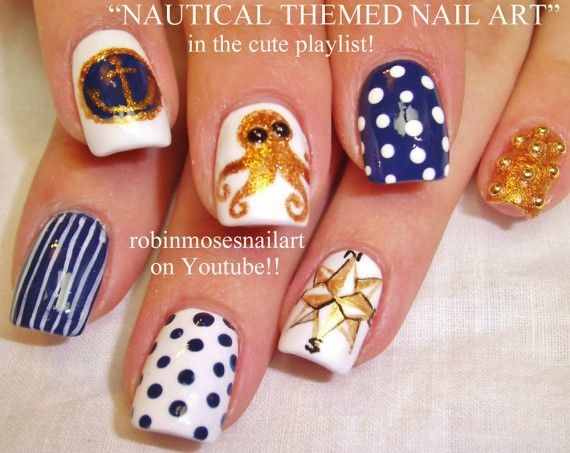 Uñas Nauticas, mas de 40 ejemplos – #Nautical Nails