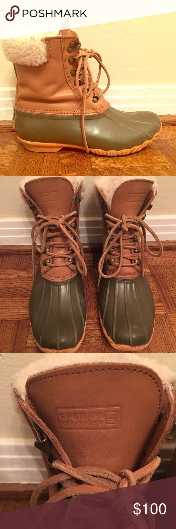 Sperry Topsider Women's Duck Boots Waterproof boot, great for cold rain or snow. Furry material inside boot keeps feet warm. Originally bought from J. Crew but they are Sperry brand. Sperry Top-Sider Shoes Winter & Rain Boots