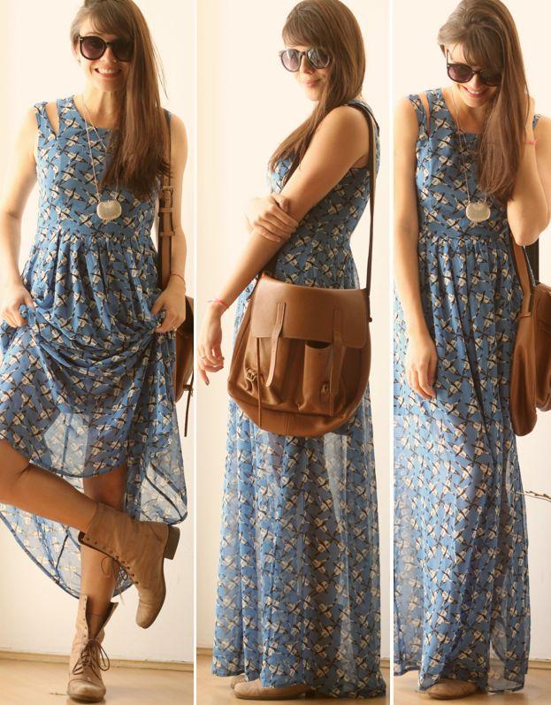 Vestido longo + coturno!